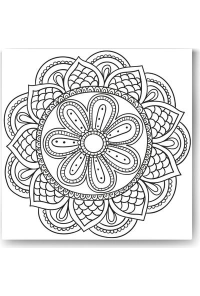 Evdeka Çiçek-1 Desenli Mandala Kanvas Tablo