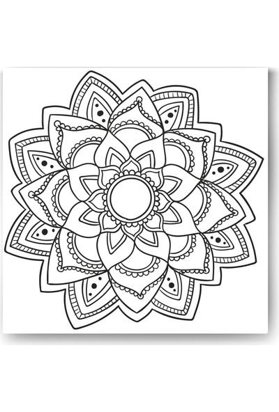 Evdeka Çiçek-2 Desenli Mandala Kanvas Tablo