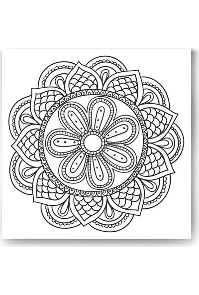 Evdeka Çiçek-9 Desenli Mandala Kanvas Tablo