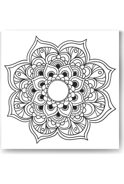 Evdeka Çiçek-10 Desenli Mandala Kanvas Tablo