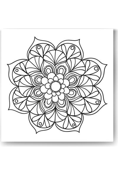 Evdeka Çiçek-13 Desenli Mandala Kanvas Tablo