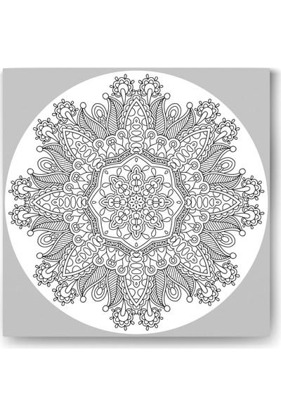 Evdeka Çiçek-24 Desenli Mandala Kanvas Tablo
