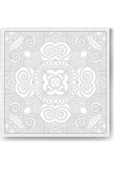 Evdeka Çiçek-25 Desenli Mandala Kanvas Tablo