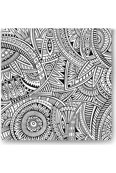 Evdeka Nakışlı Çiçek Desenli Mandala Kanvas Tablo
