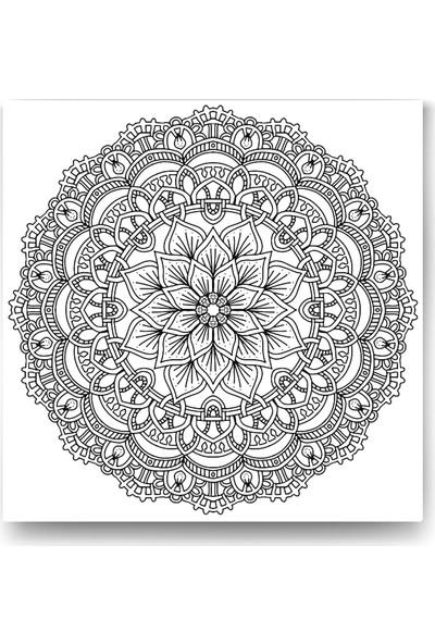 Evdeka Retro Çiçek Desenli Mandala Kanvas Tablo