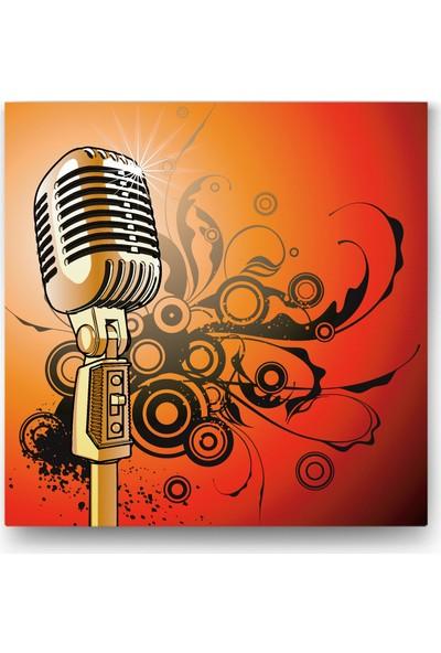 Evdeka Altın Mikrofon İllüstrasyon Kanvas Tablo