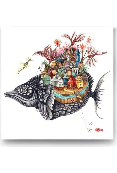 Evdeka Balık Evi Temalı Kanvas Tablo