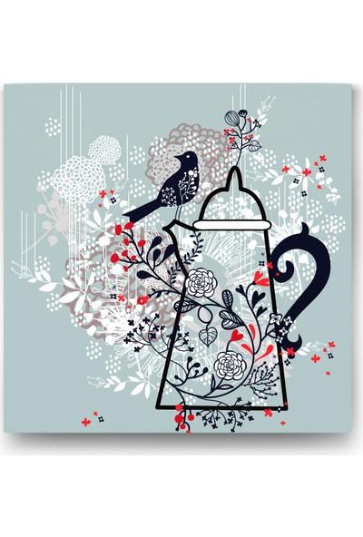Evdeka Çaydanlığa Konmuş Kuş Desenli Kanvas Tablo