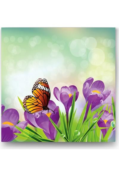 Evdeka Mor Çiçeğin Üzerindeki Kelebek Temalı Kanvas Tablo