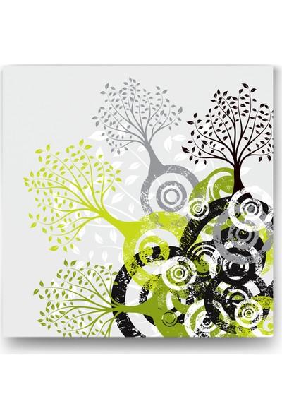 Evdeka Yuvarlak Ağaç Kökleri Tasarımlı Kanvas Tablo