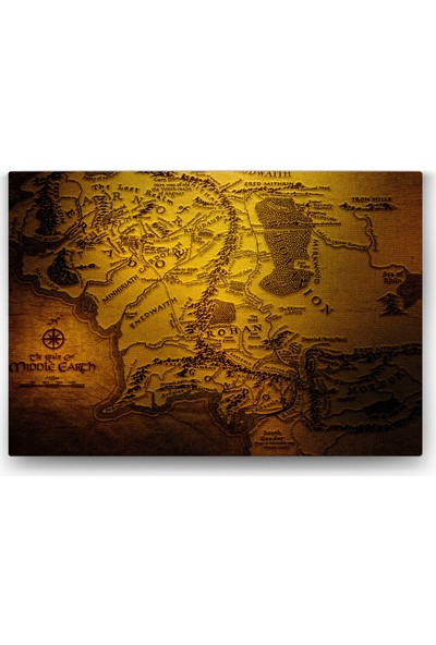 Evdeka Orta Dünya Haritası Temalı Kanvas Tablo