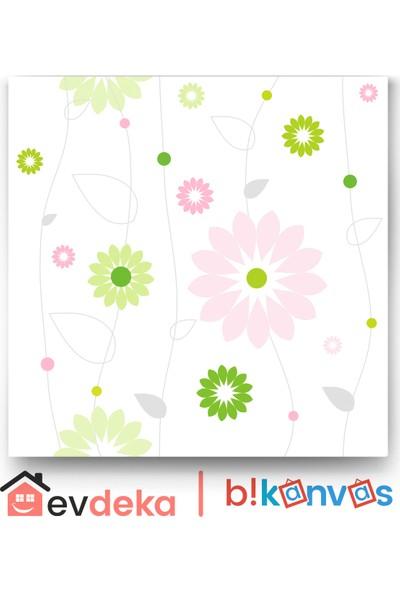 Evdeka Çiçekler Ve Çizgiler Temalı Kanvas Tablo