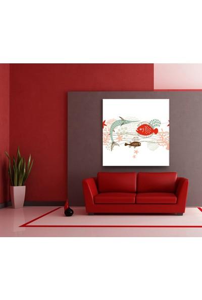 Evdeka Balıklar Desenli Kanvas Tablo