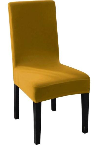 Sweat Likralı Sandalye Kılıfı Her Sandalyeye Uygun Yıkanabilir Sandalye Örtüsü Hardal