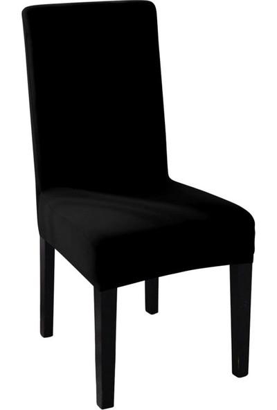 Sweat Likralı Sandalye Kılıfı Her Sandalyeye Uygun Yıkanabilir Sandalye Örtüsü Siyah