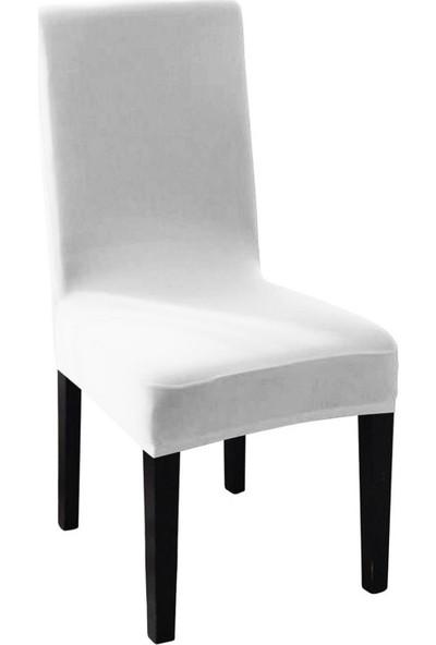 Sweat Likralı Sandalye Kılıfı Her Sandalyeye Uygun Yıkanabilir Sandalye Örtüsü Beyaz