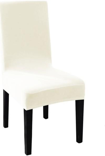 Sweat Likralı Sandalye Kılıfı Her Sandalyeye Uygun Yıkanabilir Sandalye Örtüsü Krem