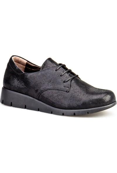 Cabani Comfort Bağcıklı Günlük Kadın Ayakkabı Siyah Deri