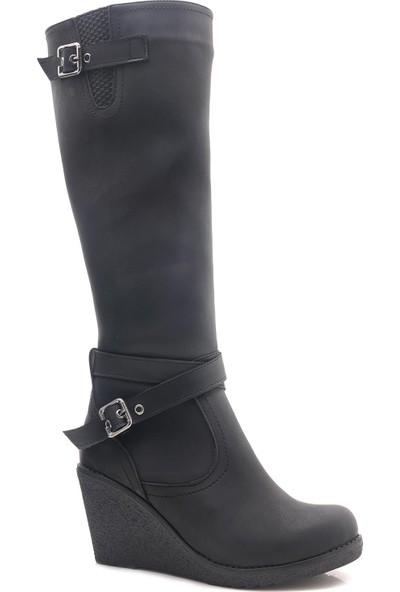 Leona Dolgu Topuk Siyah Bayan Çizme