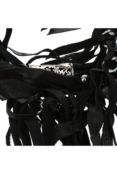 Bey'S Siyah Deri Zincir Püskül Kolye