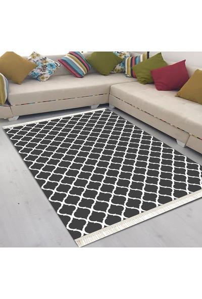 Best Home Latex Taban Dijital Baskılı Saçaklı Halı Beste Siyah 80X300 Cm