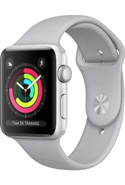 Apple Watch Seri 3 42mm Gümüş Rengi Alüminyum Kasa ve Puslu Spor Kordon - MQL02TU/A