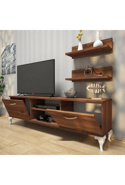 Rani A4 Duvar Raflı - Kitaplıklı Tv Ünitesi Modern Ayaklı Tasarım Minyatür Ceviz