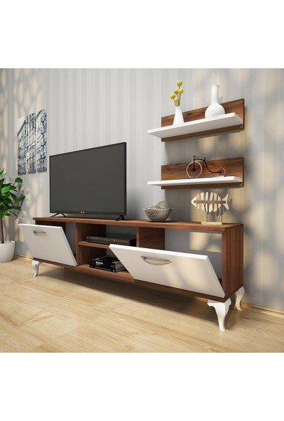 Rani Duvar Raflı Tv Sehpası - Kitaplıklı Tv Ünitesi Modern Ayaklı Tasarım Minyatür Ceviz - Beyaz