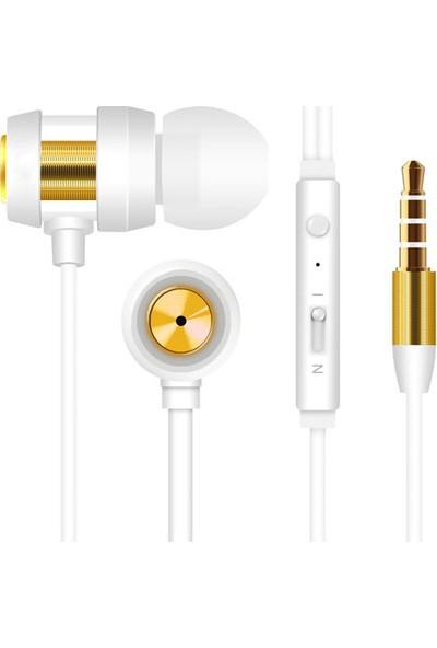 Snopy SN-J01 Mobil Telefon Uyumlu Kulak İçi Beyaz/Gold Mikrofonlu Kulaklık