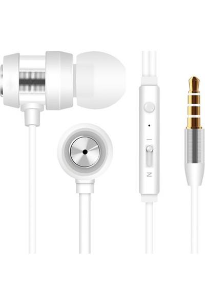 Snopy SN-J01 Mobil Telefon Uyumlu Kulak İçi Beyaz/Gümüş Mikrofonlu Kulaklık