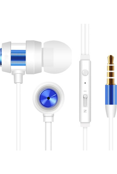 Snopy SN-J01 Mobil Telefon Uyumlu Kulak İçi Beyaz/Mavi Mikrofonlu Kulaklık