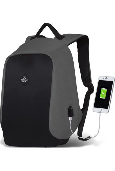 My Valice Smart Bag Secret Usb Şarj Girişli Akıllı Sırt Çantası Gri
