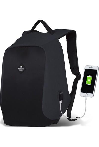 My Valice Smart Bag Secret Usb Şarj Girişli Akıllı Sırt Çantası Füme