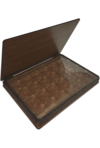 Teknoprof Kalpli Ahşap Çikolata Kutusu Venge Gümüş