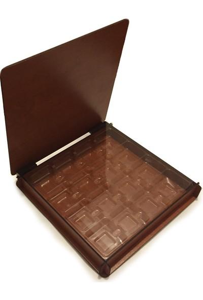 Teknoprof Kalpli Ahşap Çikolata Kutusu - Kare - Kahverengi