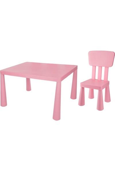 Asz Çocuk Oyun Ve Çalışma Masa Sandalye Seti - Pembe