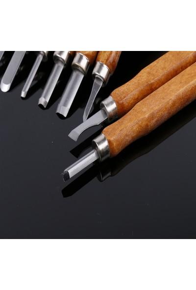 Unik Design Profesyonel Ahşap Oyma Seti 12 Parça 14cm