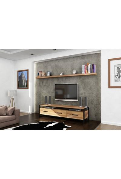 Endustriyel Mobilya Meşe TV Ünitesi 140 cm