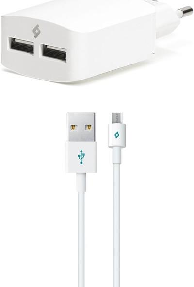 Ttec SpeedCharger Duo Universal Şarj Aleti 3.1A Micro USB Kablolu Beyaz