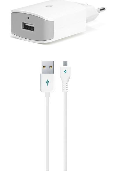 Ttec QuickCharger Android Seyahat Şarj Aleti Micro USB 2.1A Beyaz