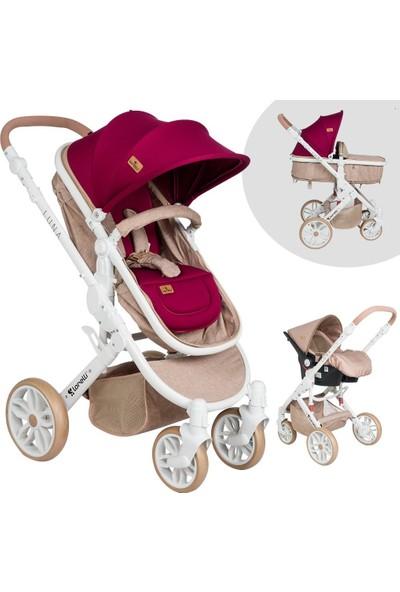 Lorelli Luna Beige Red Travel Sistem Bebek Arabası