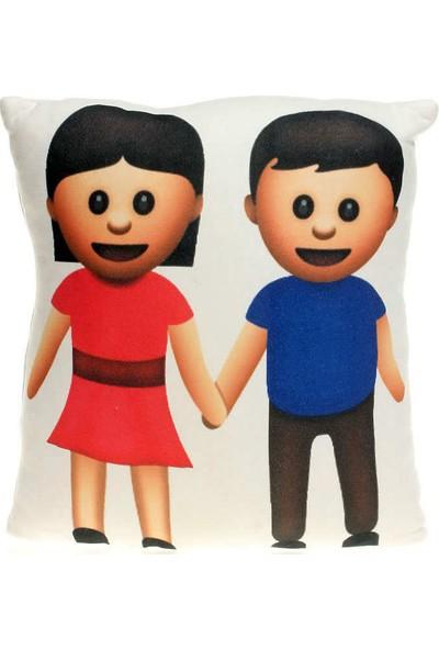 Hediye Mucidi Kız Erkek Çocuk Elele Emoji Yastık
