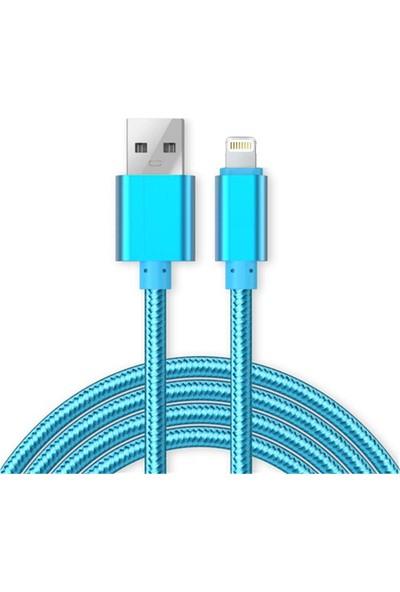Case 4U Apple iPhone 5-5S-5C-6-6 Plus-6S-6S Plus-7-7 Plus-8-8 Plus-X-iPad Renkli Kısa Şarj ve Data Kablosu Mavi