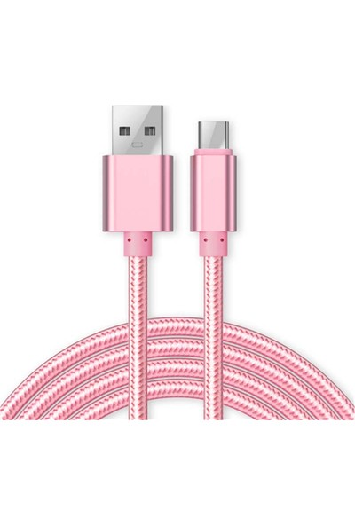 Case 4U Micro USB Renkli Kısa Data ve Şarj Kablosu Pembe*