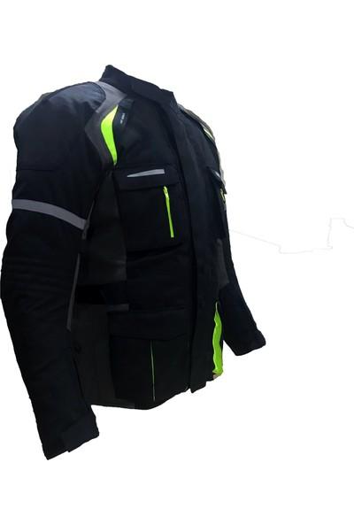 Motospartan Motospartan Uzun Motosiklet Montu, L Beden, Siyah, Sarı-Gri Çizgili, Su Geçirmez