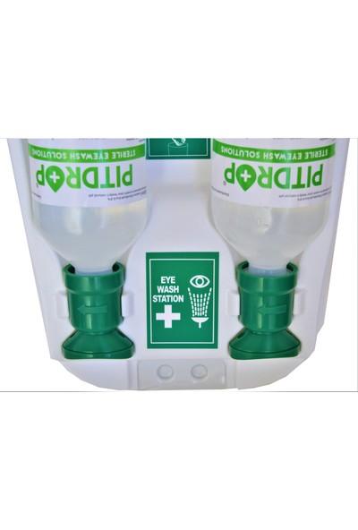 Pit Drop PD - SW 007 Aynalı Şeffaf Kapaklı Steril Göz Solüsyonu / Yıkama Duş Seti 2 x 500 ml