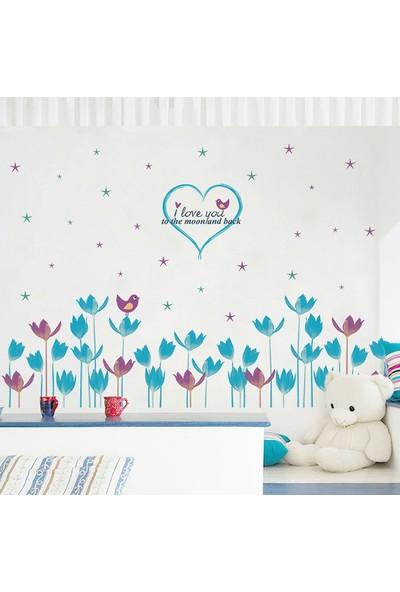 Crystal Kids Mavi Mor Laleli Çiçekli PVC Duvar Sticker