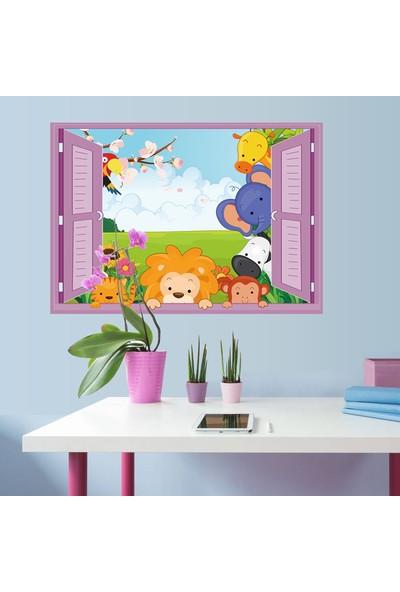 Crystal Kids Pencereden Bakan Sevimli Hayvanlar Çocuk ve Bebek Odası PVC Duvar Sticker