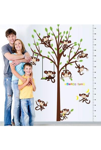 Crystal Kids Dev Boyutlu Boy Ölçer Ağaç ve Maymunlar Bebek ve Çocuk Odası PVC Duvar Sticker XL