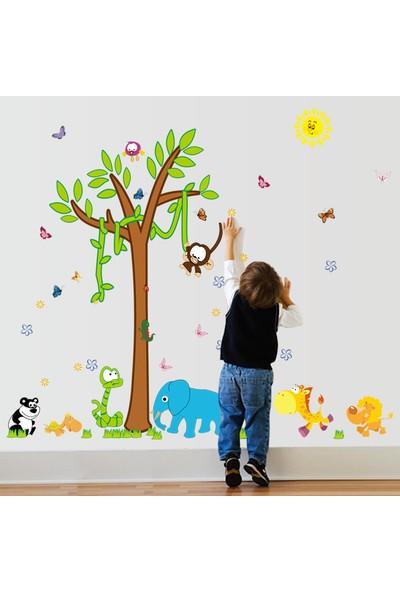 Crystal Kids Ağaç Maymun ve Hayvanlar Bebek ve Çocuk Odası PVC Duvar Sticker
